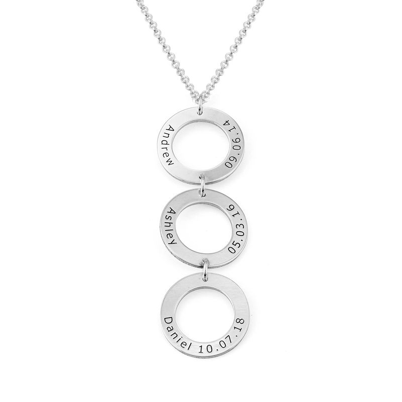 Personalised Vertical Hanging 3 Circles Necklace in Sterling Silver