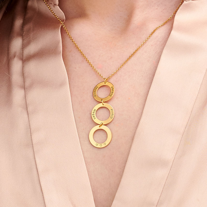 Personalised Vertical Hanging 3 Circles Necklace in Gold Plating - 2