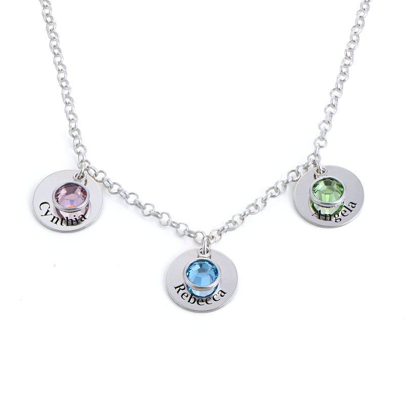Mum Personalised Charms Necklace with Birthstone Crystals in Sterling Silver