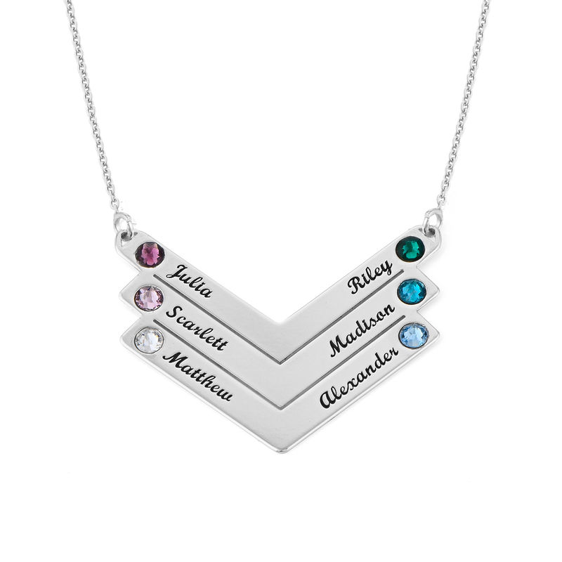Birthstone Personalised Family Necklace in Sterling Silver