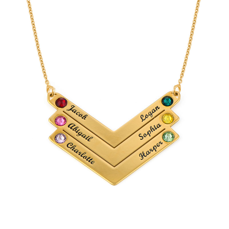 Birthstone Personalised Family Necklace in Gold Plating - 1