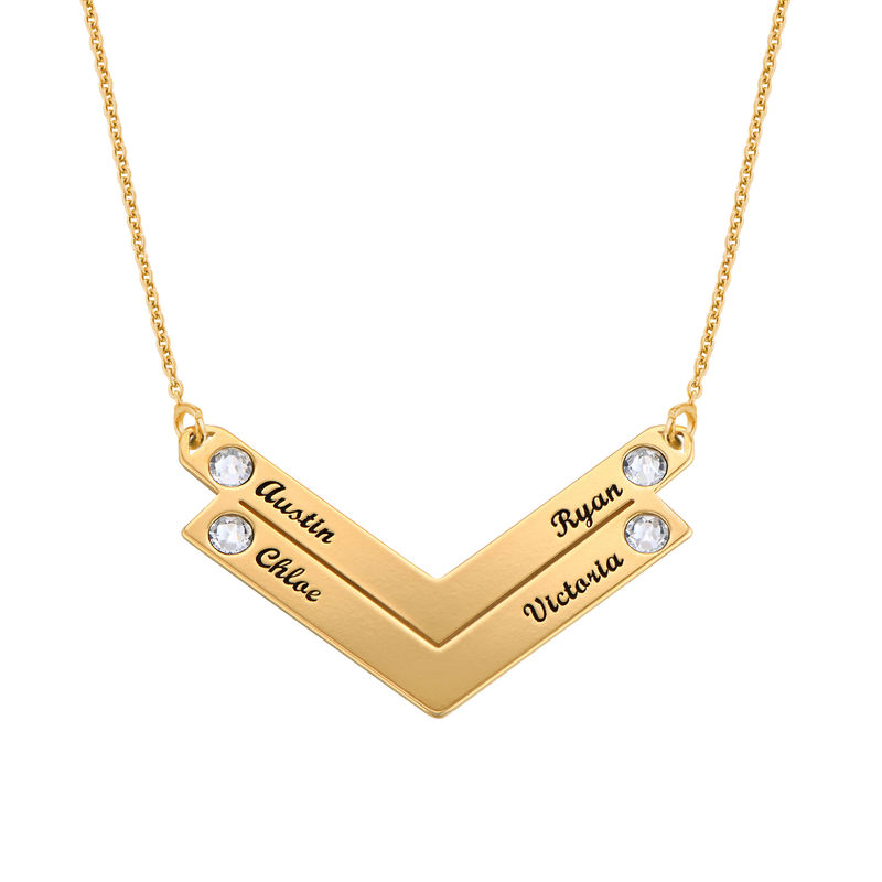 Birthstone Personalised Family Necklace in Gold Plating - 2