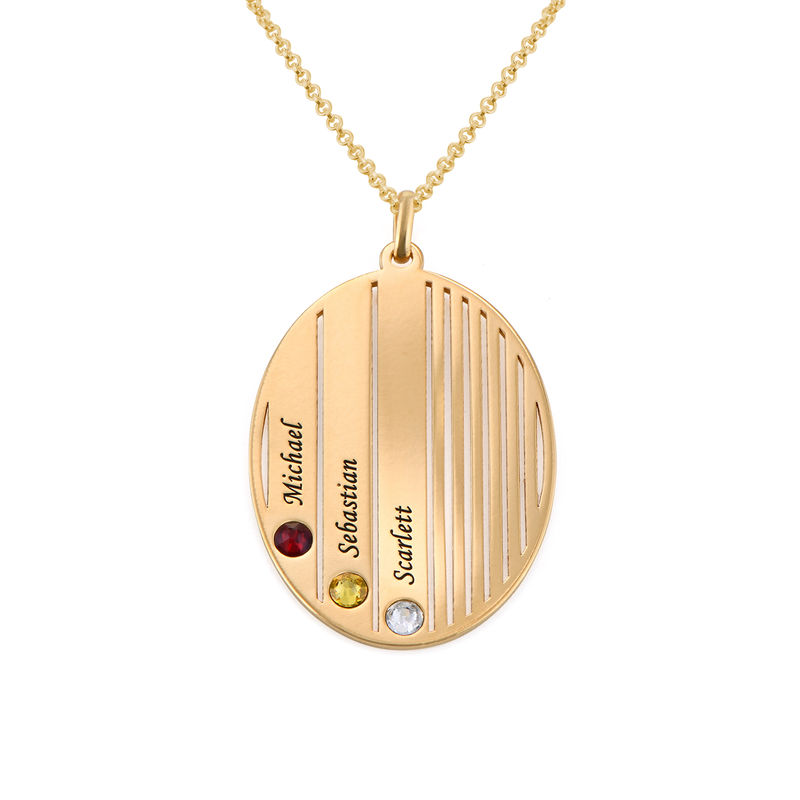 Engraved Family Necklace with Birthstones in Gold Plating