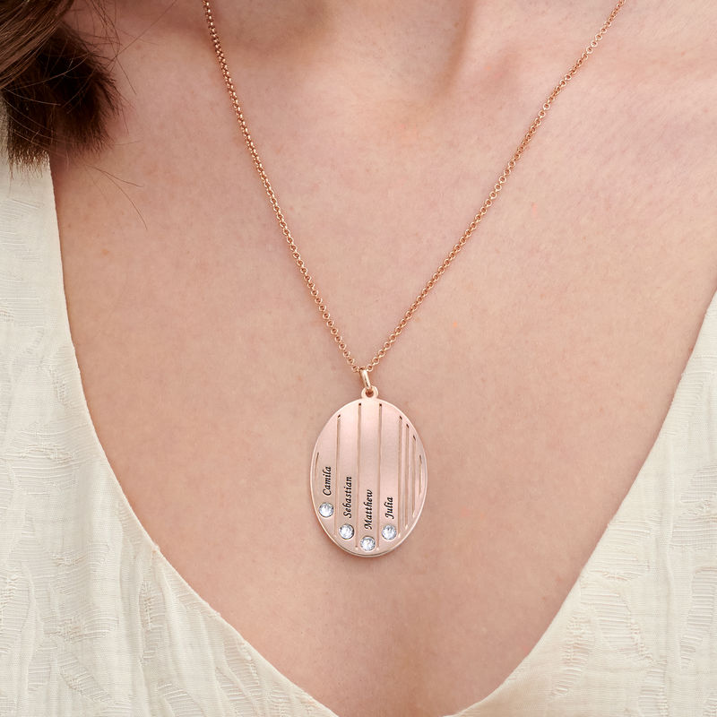 Engraved Family Necklace with Birthstones in Rose Gold Plating - 2