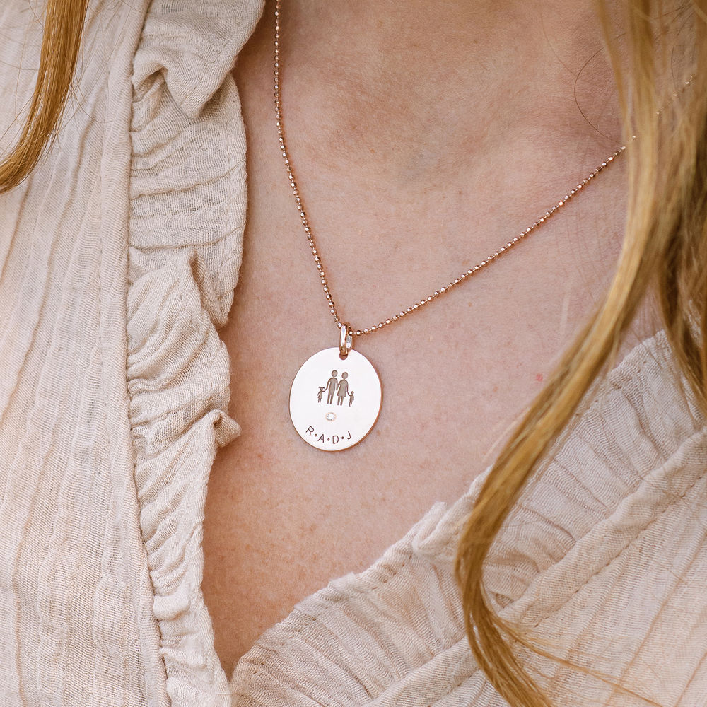 Family Necklace for Mum in 18ct Rose Gold Plated with Diamond - 2