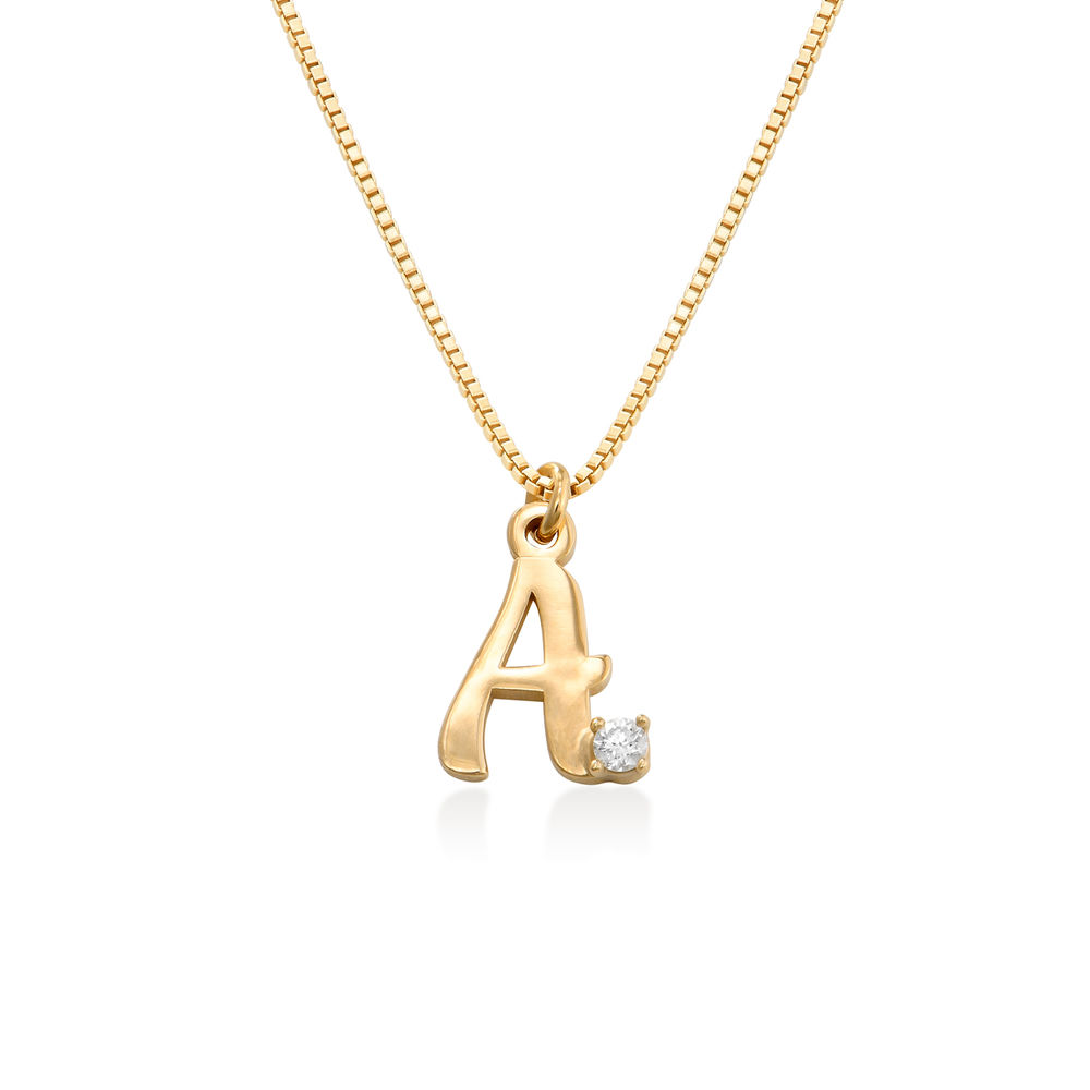 Diamond initial necklace in 18K Gold Plating