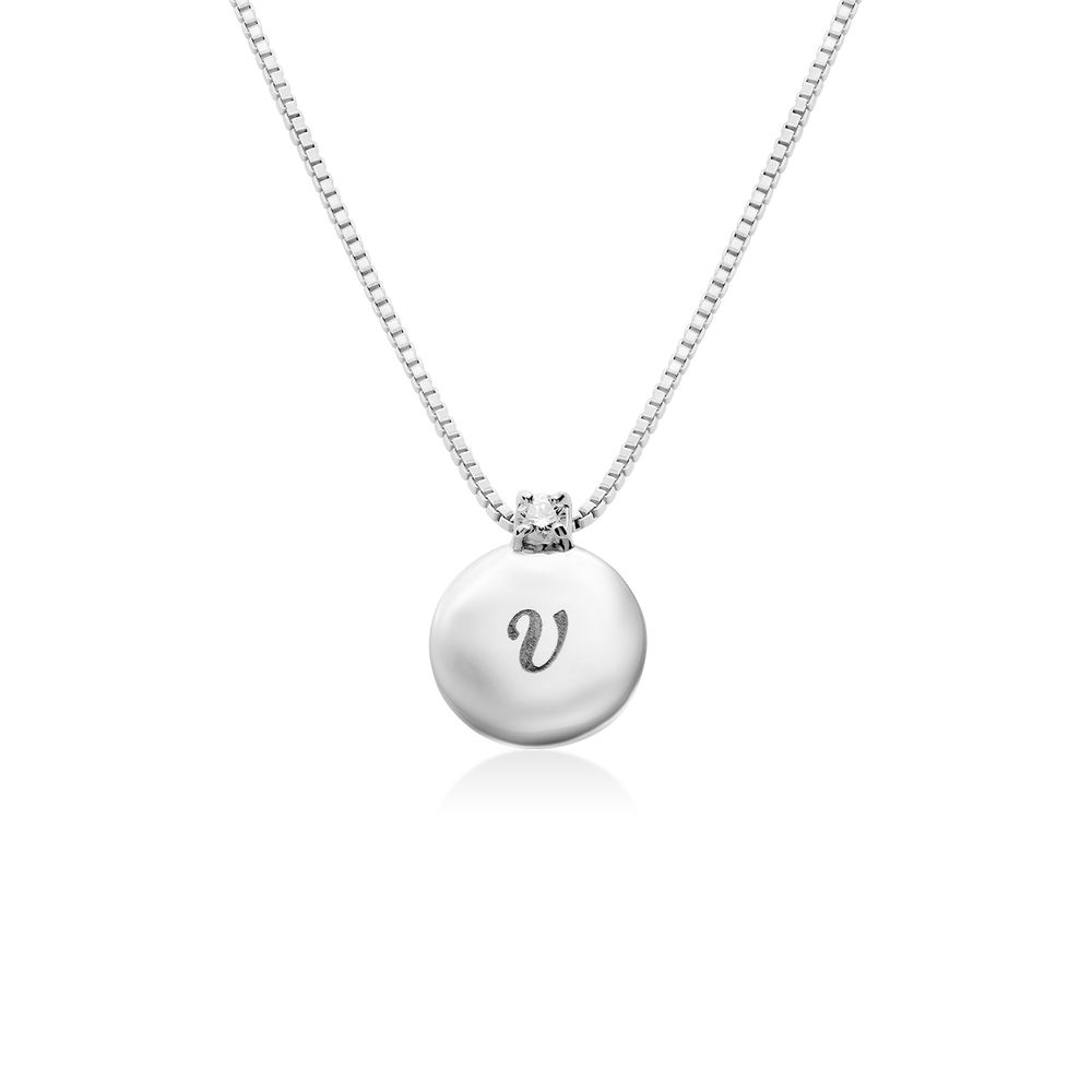 Small Circle Initial Necklace with Diamond in Sterling Silver
