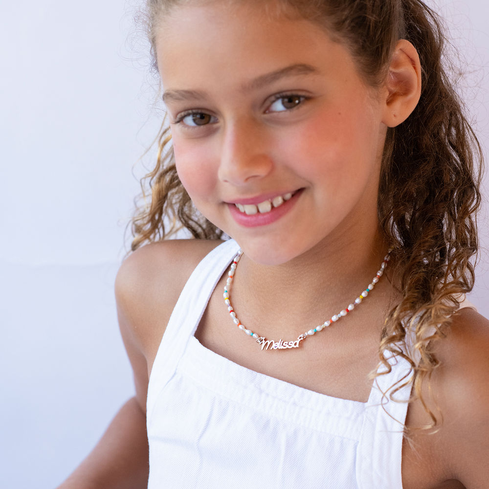 Pearl Candy Girls Name Necklace in Sterling Silver - 3