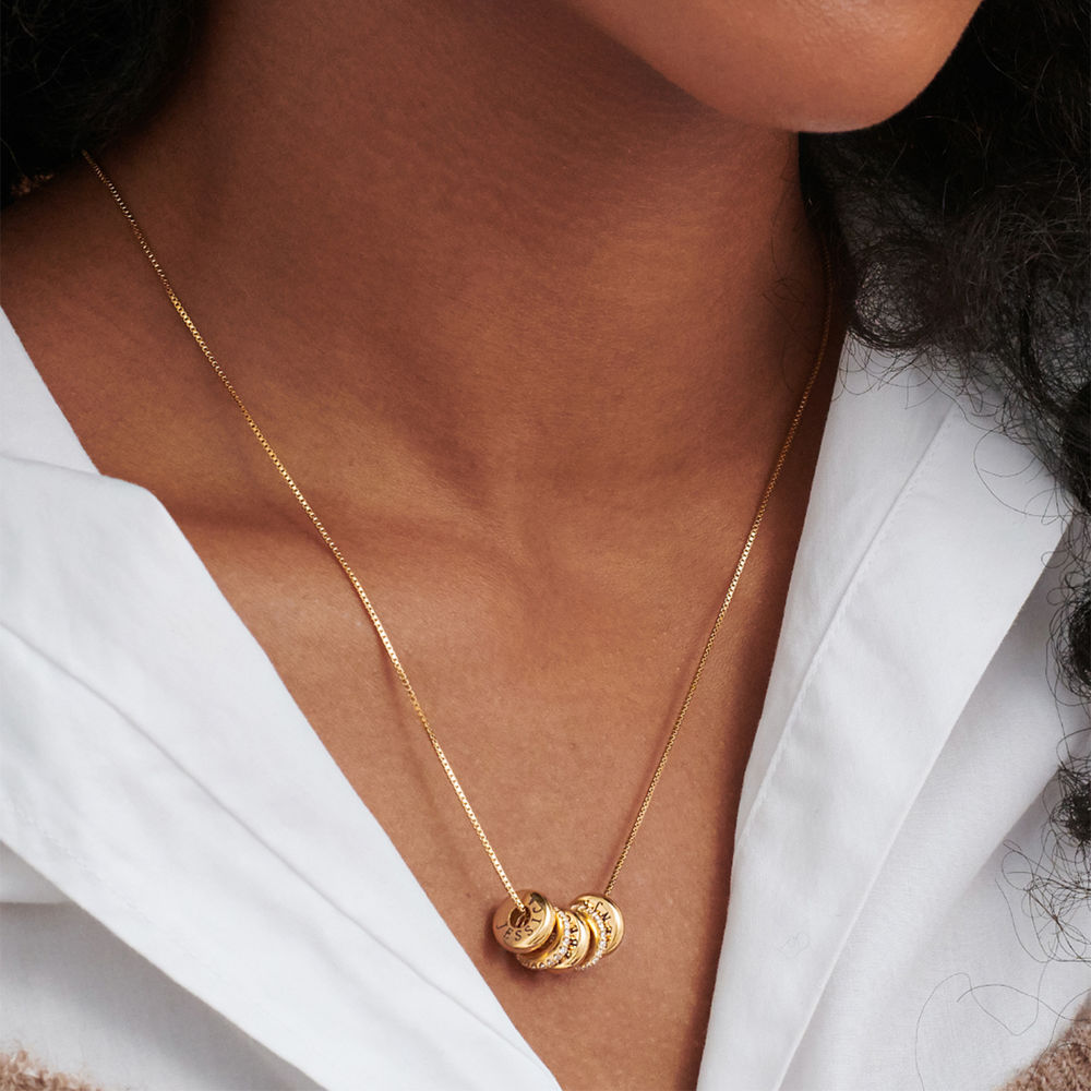 Candy Necklace with Custom Engraved Beads in Gold Vermeil - 3