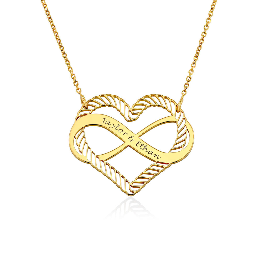 Engraved Heart Infinity Necklace in Gold Plating