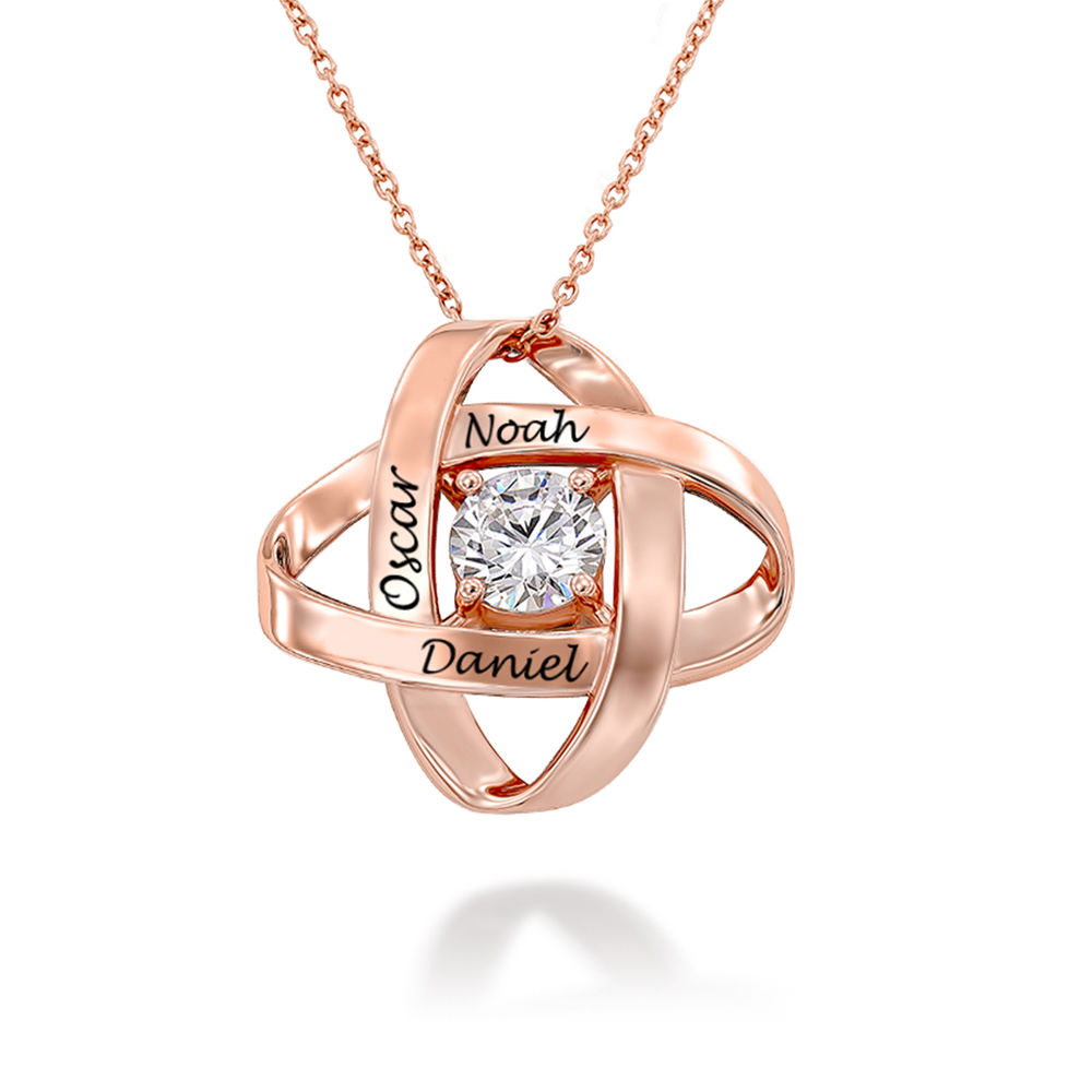 Engraved Eternal Necklace with Cubic Zirconia in Rose Gold Plating