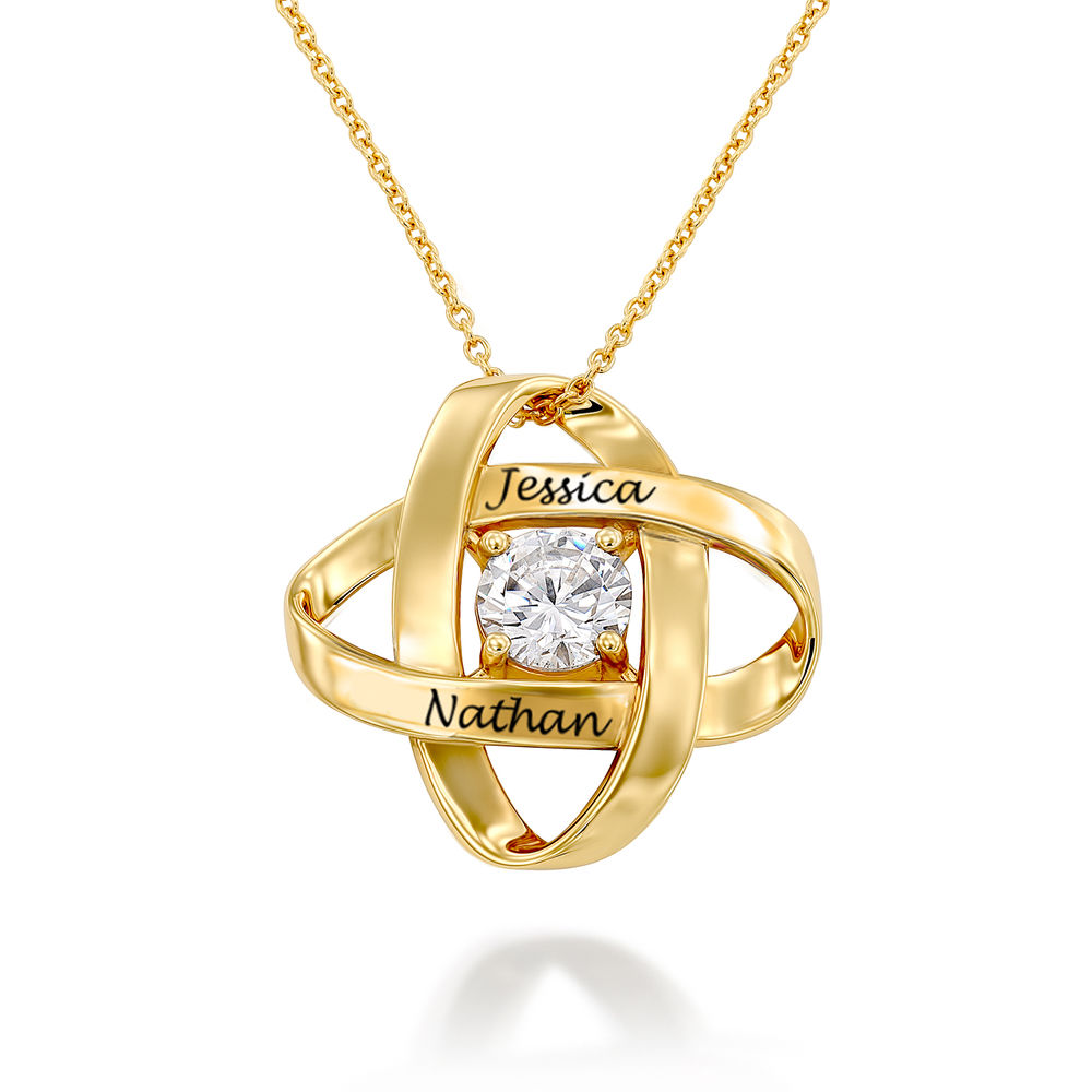 Engraved Eternal Necklace with Cubic Zirconia in Gold Vermeil