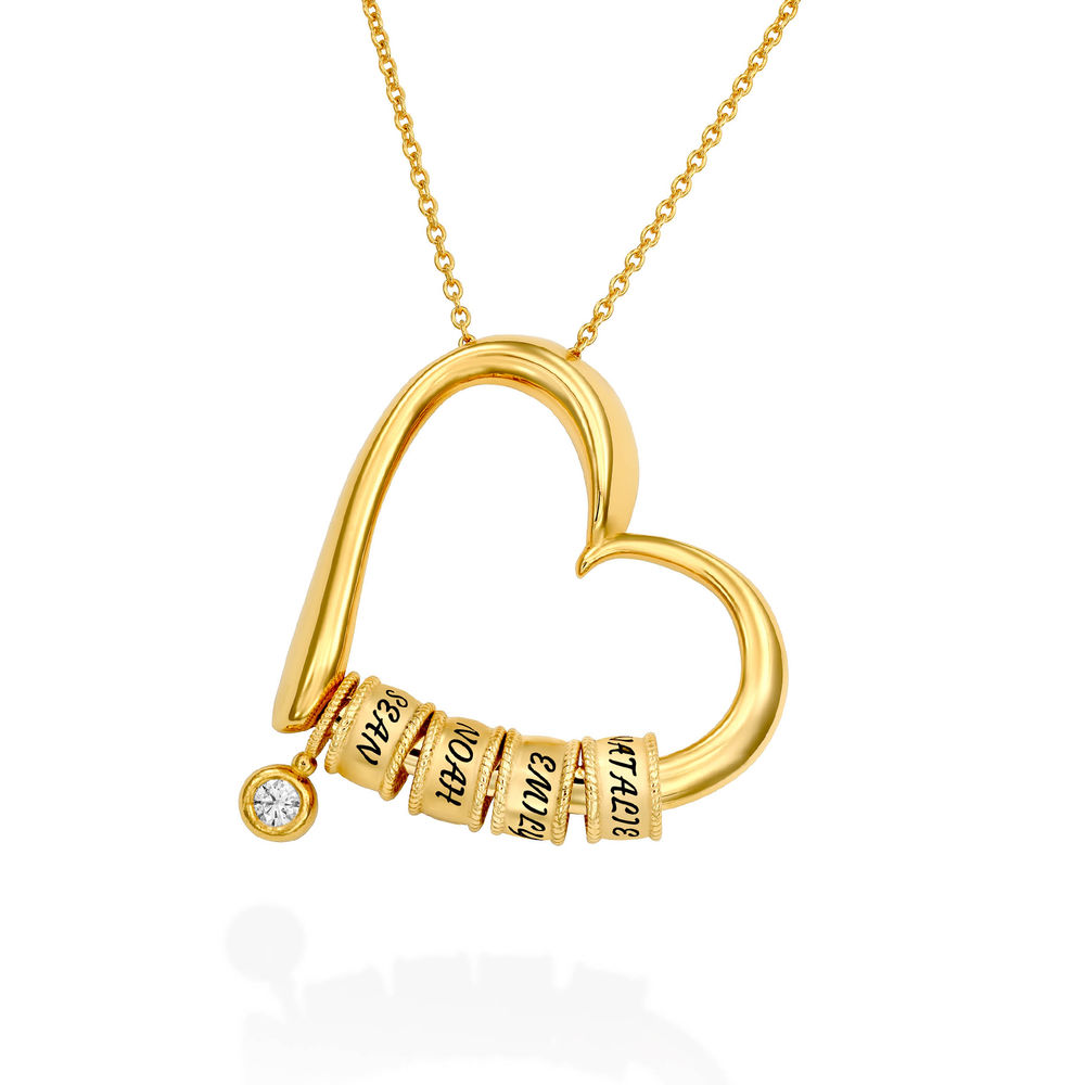 Charming Heart Necklace with Engraved Beads & Diamond in Gold Plating