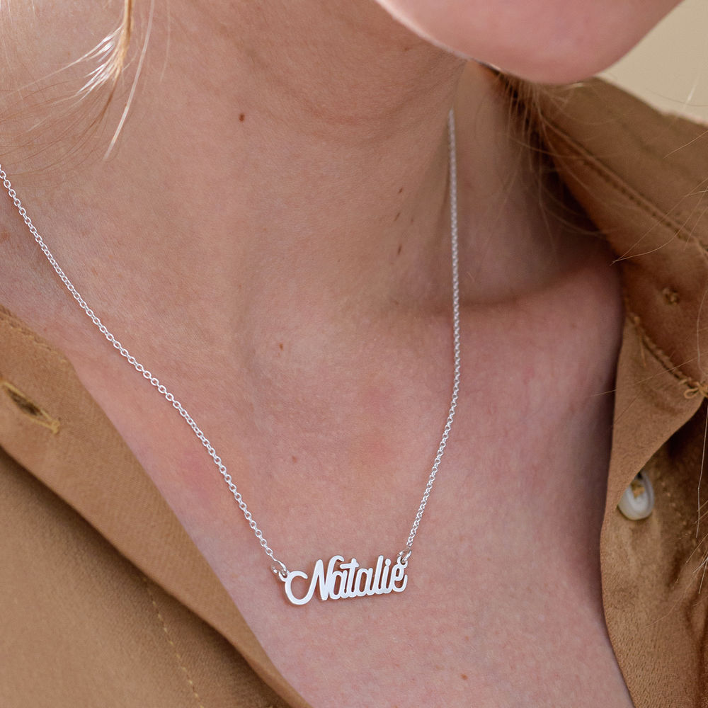 Cable Chain Script Name Necklace in Sterling Silver - 3