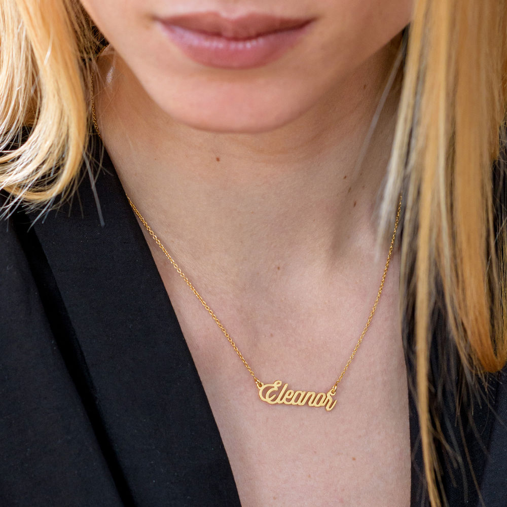 Cable Chain Script Name Necklace in Gold Plating - 3