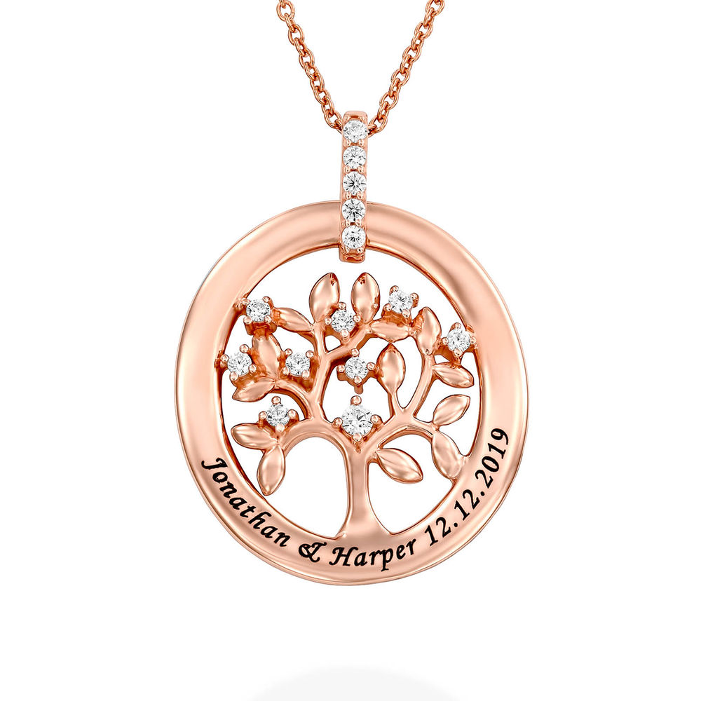 Custom Family Tree Necklace With Cubic Zirconia in Rose Gold Plating