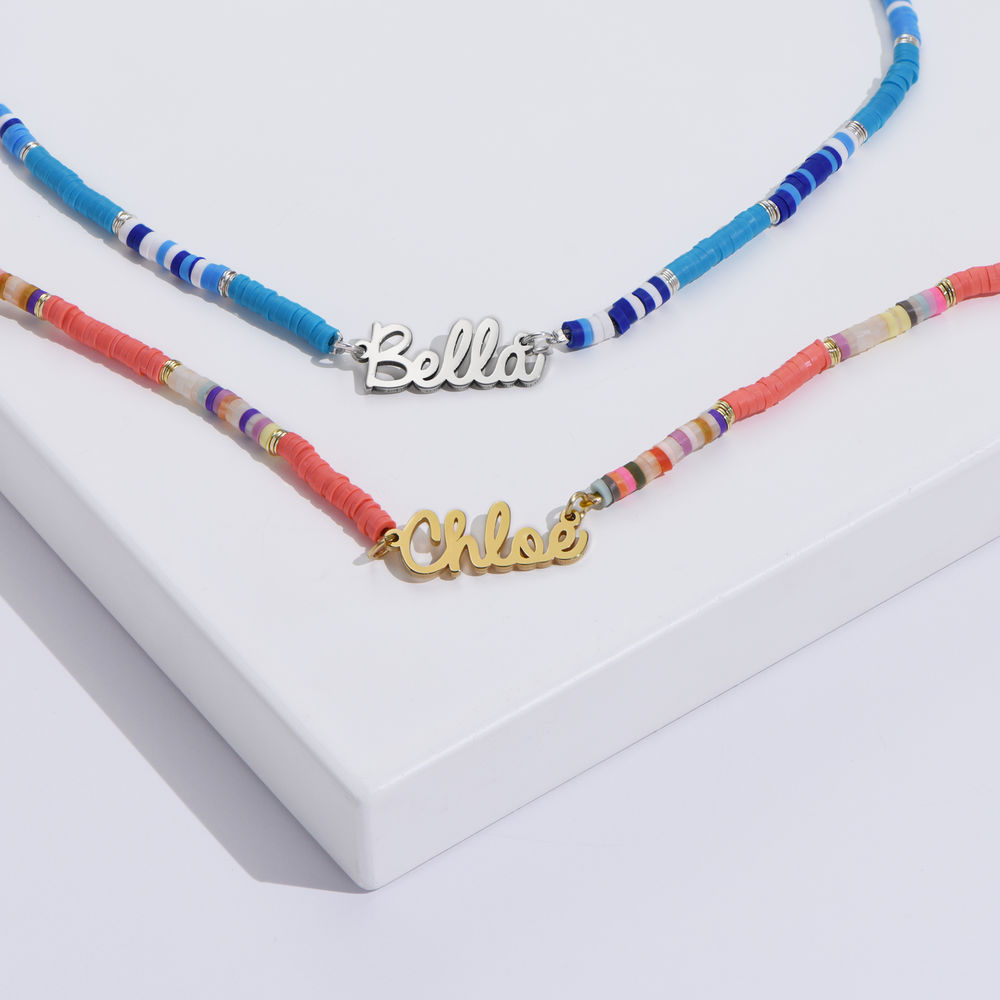 Blue Bead Name Necklace in Sterling Silver - 2