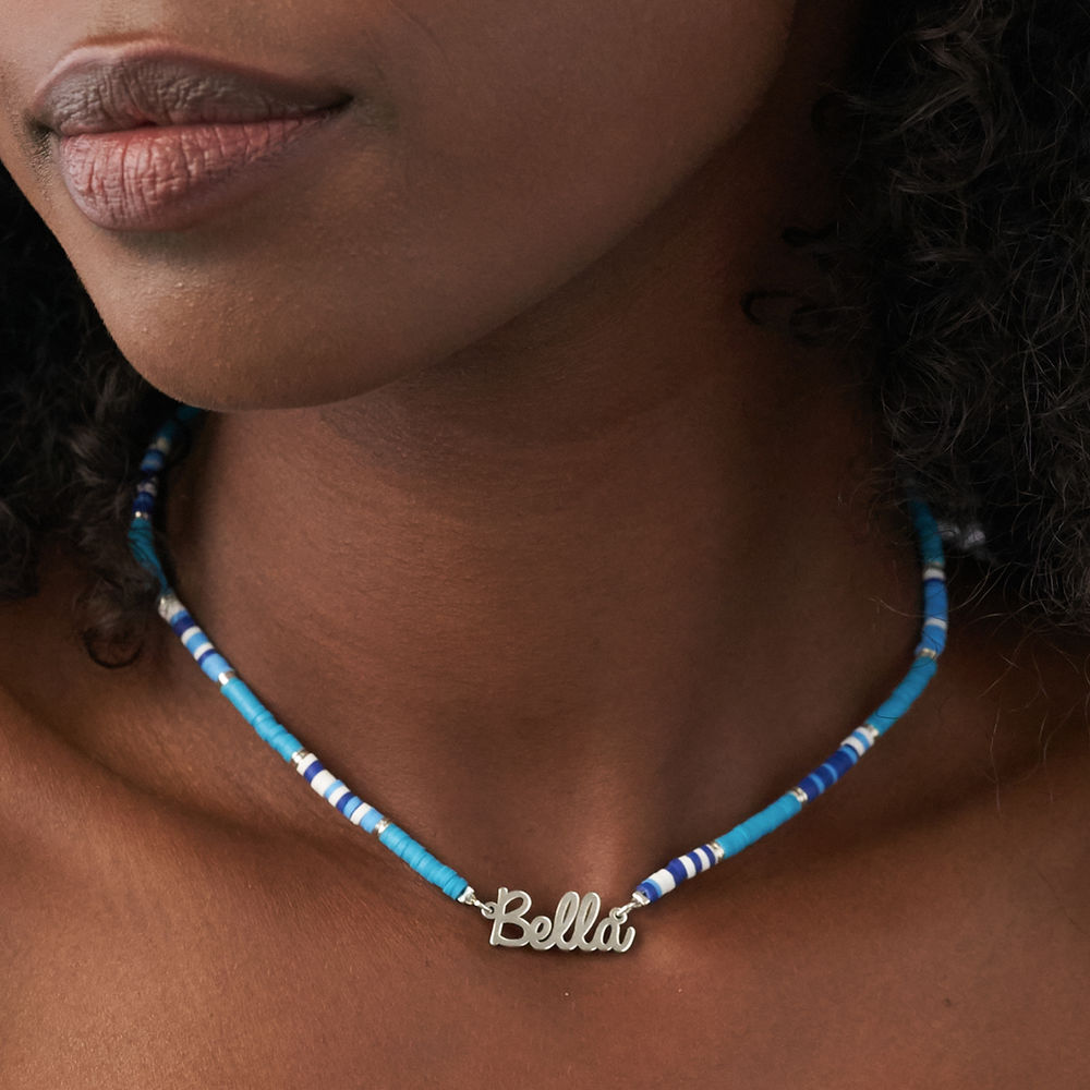 Blue Bead Name Necklace in Sterling Silver - 4
