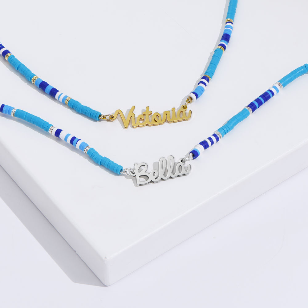 Blue Bead Name Necklace in Gold Plating - 2