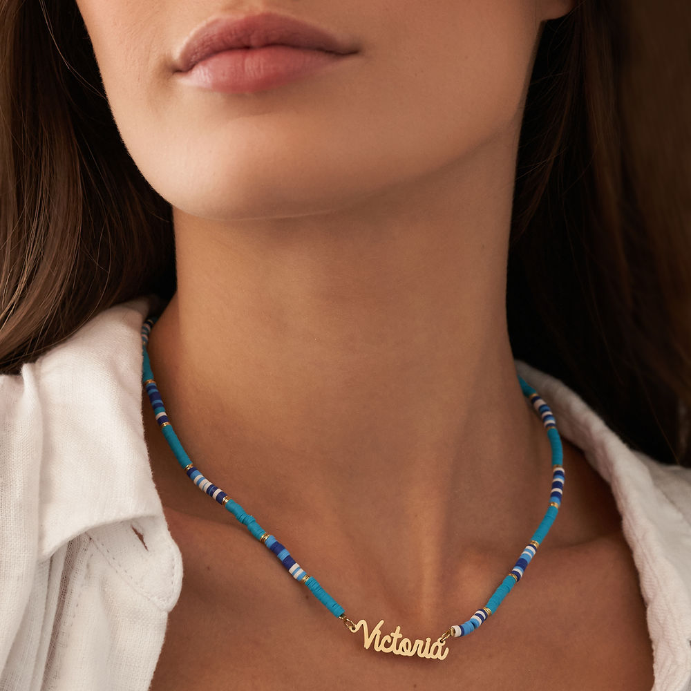 Blue Bead Name Necklace in Gold Plating - 3