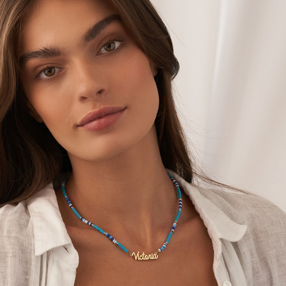 Blue Bead Name Necklace in Gold Plating - 4