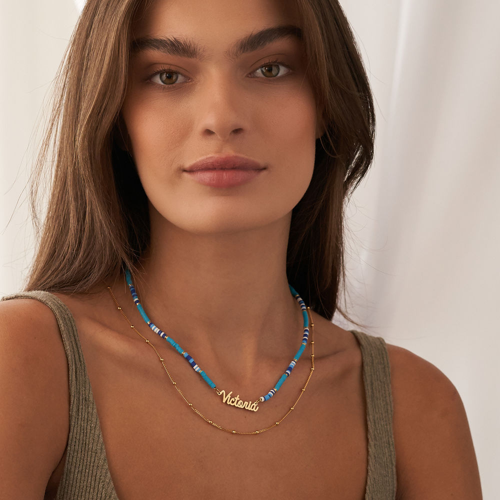 Blue Bead Name Necklace in Gold Plating - 5