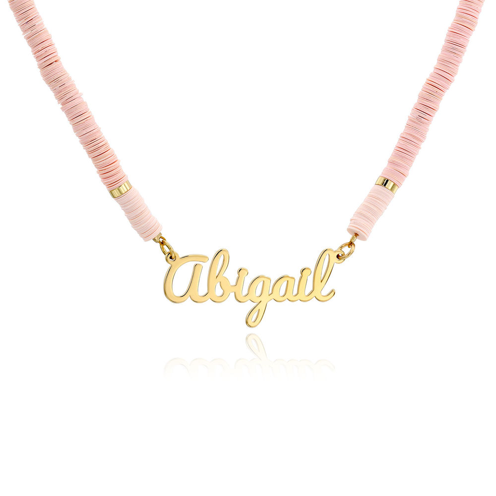 Nude Bead Name Necklace in Gold Plating