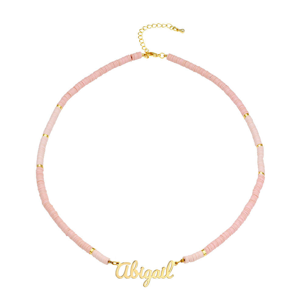 Nude Bead Name Necklace in Gold Plating - 1
