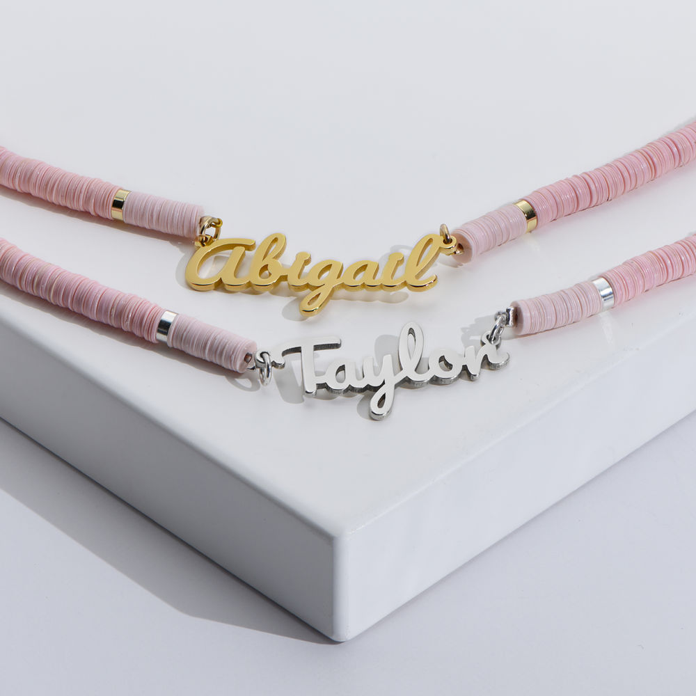 Nude Bead Name Necklace in Gold Plating - 2