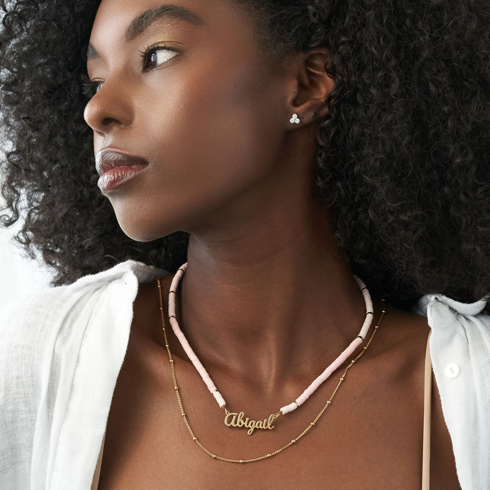 Nude Bead Name Necklace in Gold Plating - 3