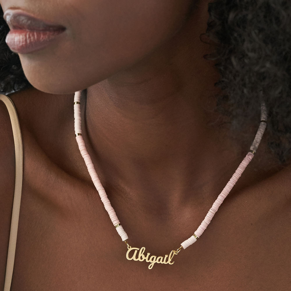 Nude Bead Name Necklace in Gold Plating - 4