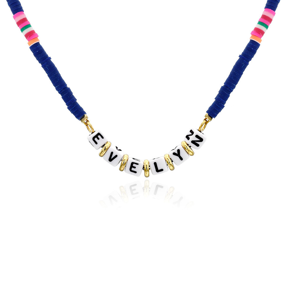 Royal Blue Custom Beaded Name Necklace in Gold Plating