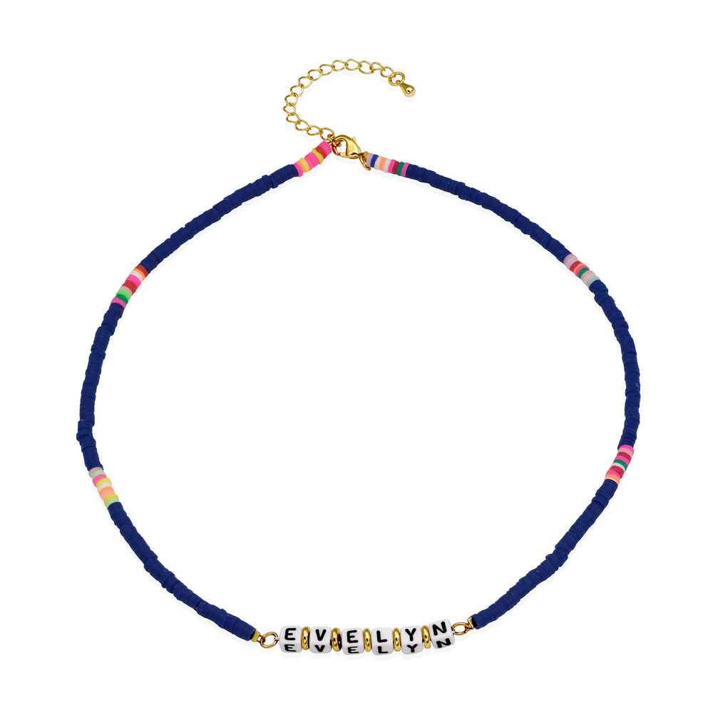 Royal Blue Custom Beaded Name Necklace in Gold Plating - 1