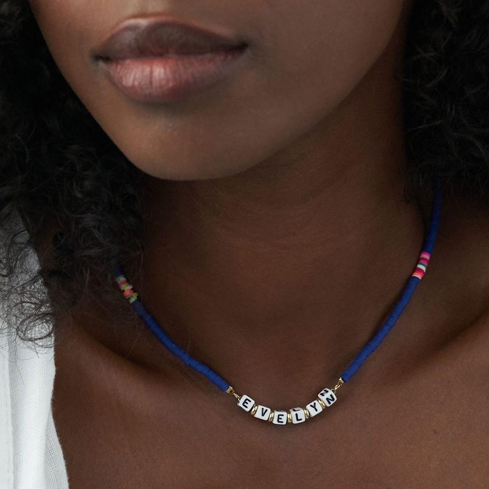 Royal Blue Custom Beaded Name Necklace in Gold Plating - 4