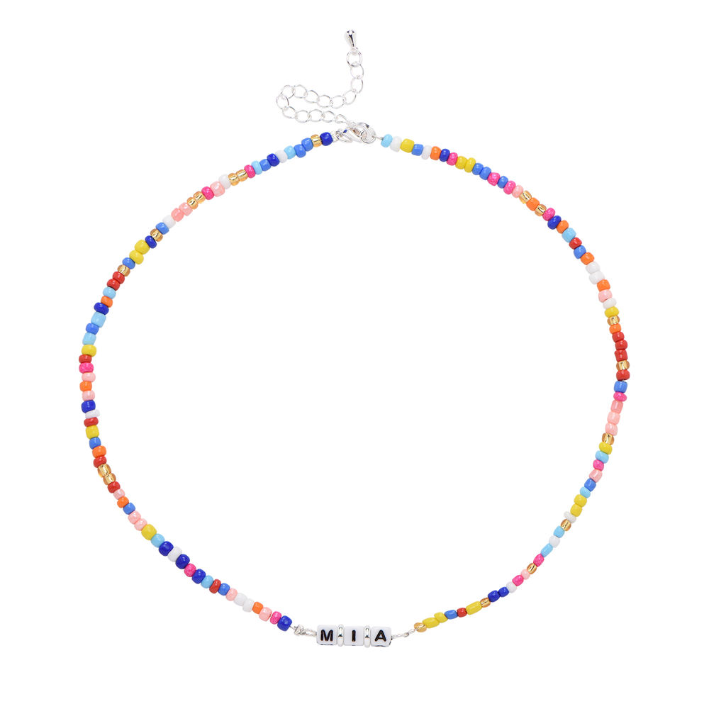 Rainbow Kids Beaded Name Necklace in Sterling Silver - 1