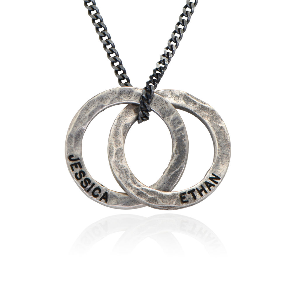 Russian Ring Necklace for Men in Silver Oxide