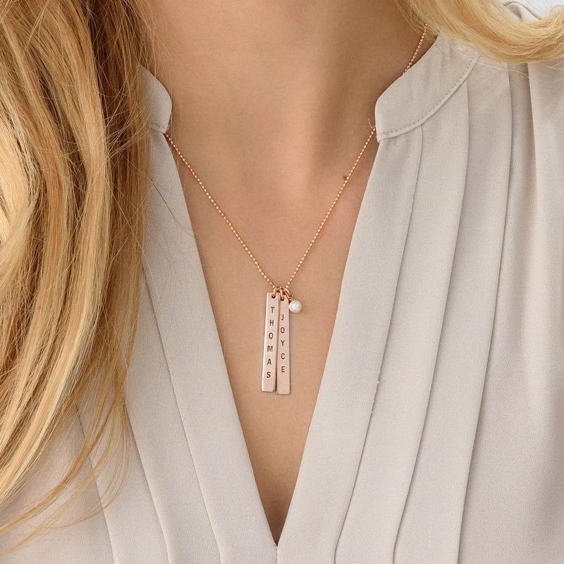 Customised Name Tag Necklace - Rose Gold Plated - 3