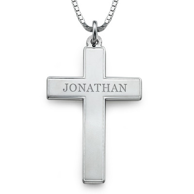 Men's Engraved Cross Necklace in Sterling Silver