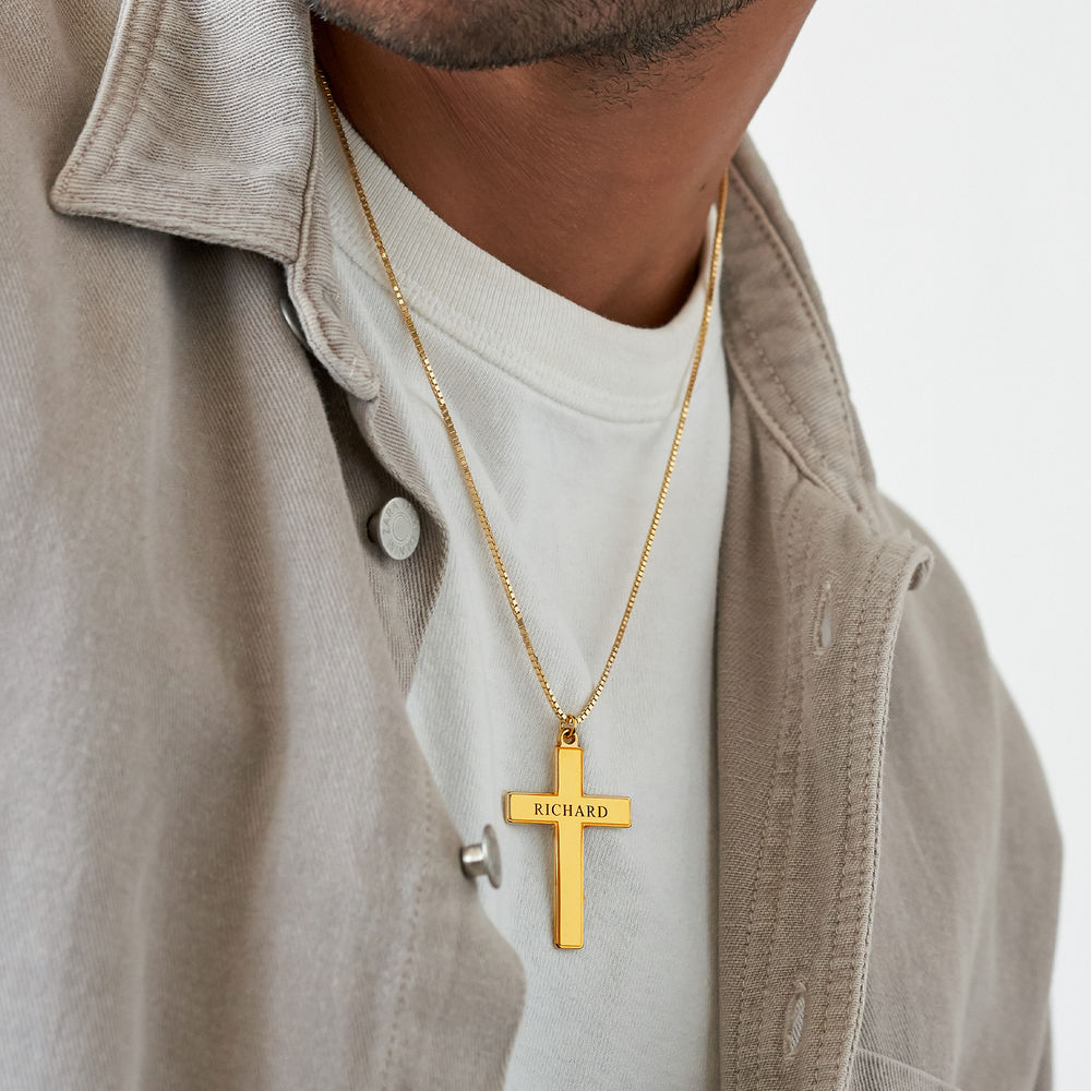 Men's Engraved Cross Necklace in 18k Gold Plating - 3