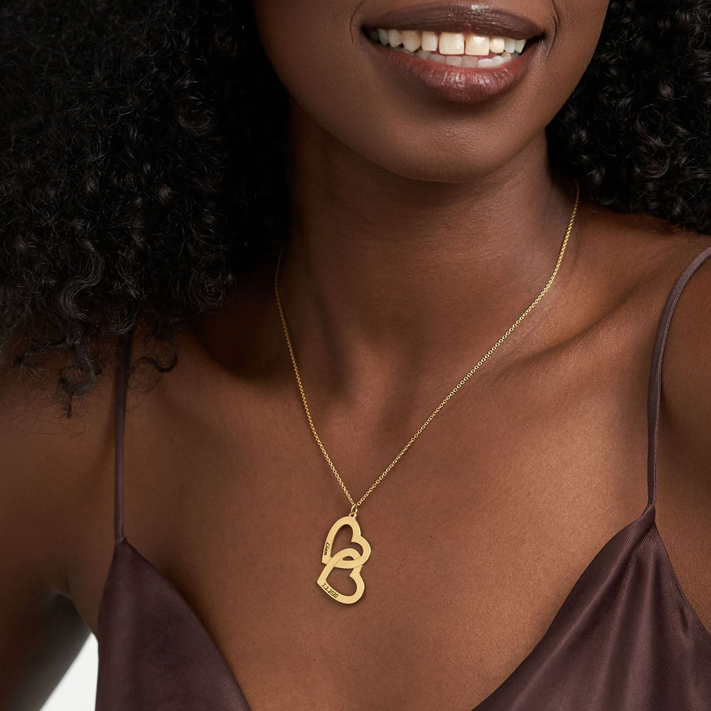 18ct Gold Plated Couples Heart in Heart Necklace - 2