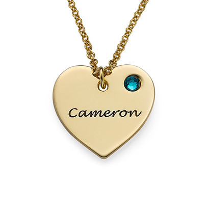 Gold Plated Engraved Heart Necklace with Birthstone