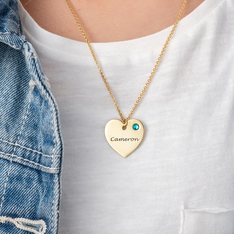 Gold Plated Engraved Heart Necklace with Birthstone - 2