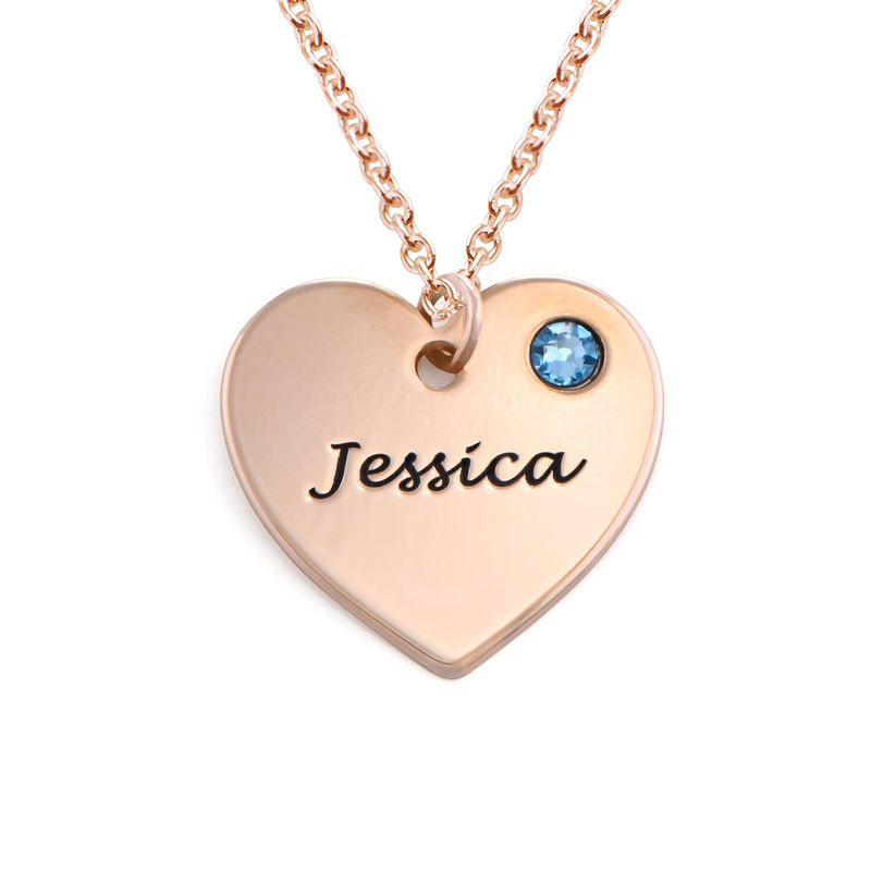 Engraved Heart Necklace with Birthstone in Rose Gold Plating