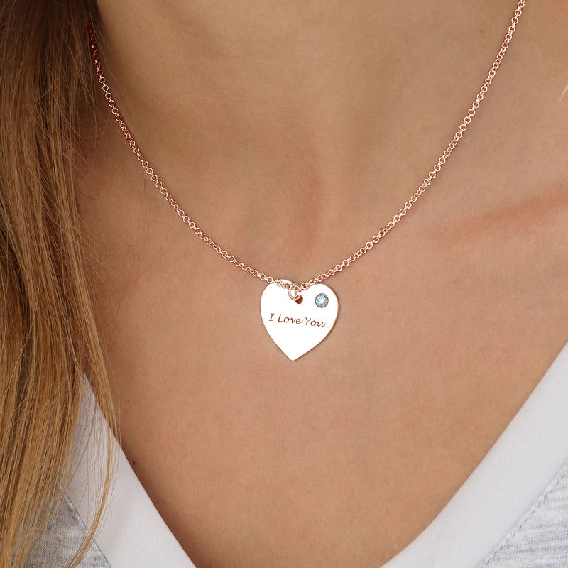 Engraved Heart Necklace with Birthstone in Rose Gold Plating - 1