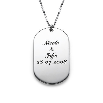 Custom Script Dog Tag Necklace in Sterling Silver