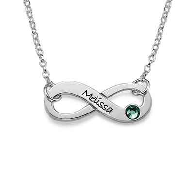 Engraved Birthstone Infinity Necklace