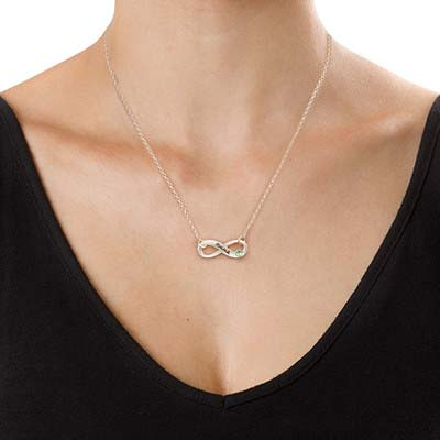 Engraved Birthstone Infinity Necklace - 1