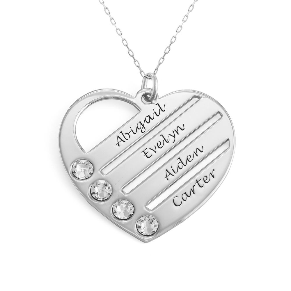 Birthstone Heart Necklace with Engraved Names in 10ct White Gold