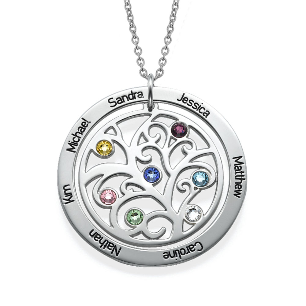 Sterling Silver 925 Family Tree Birthstone Necklace