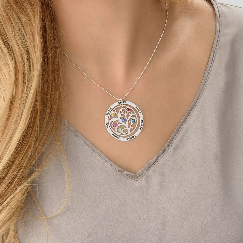 Sterling Silver 925 Family Tree Birthstone Necklace - 2